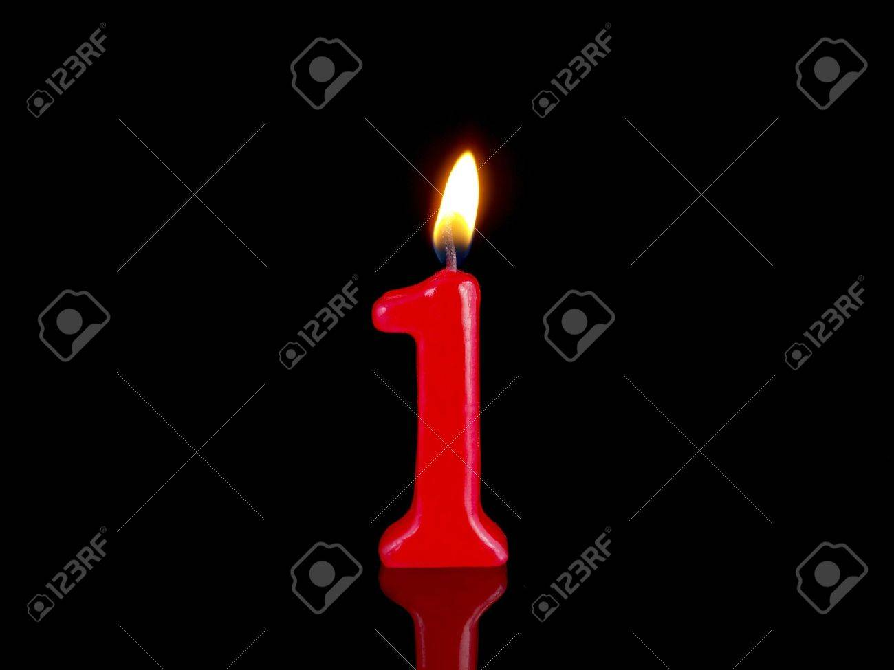 Birthday Candle Showing Nr 1 Stock Photo