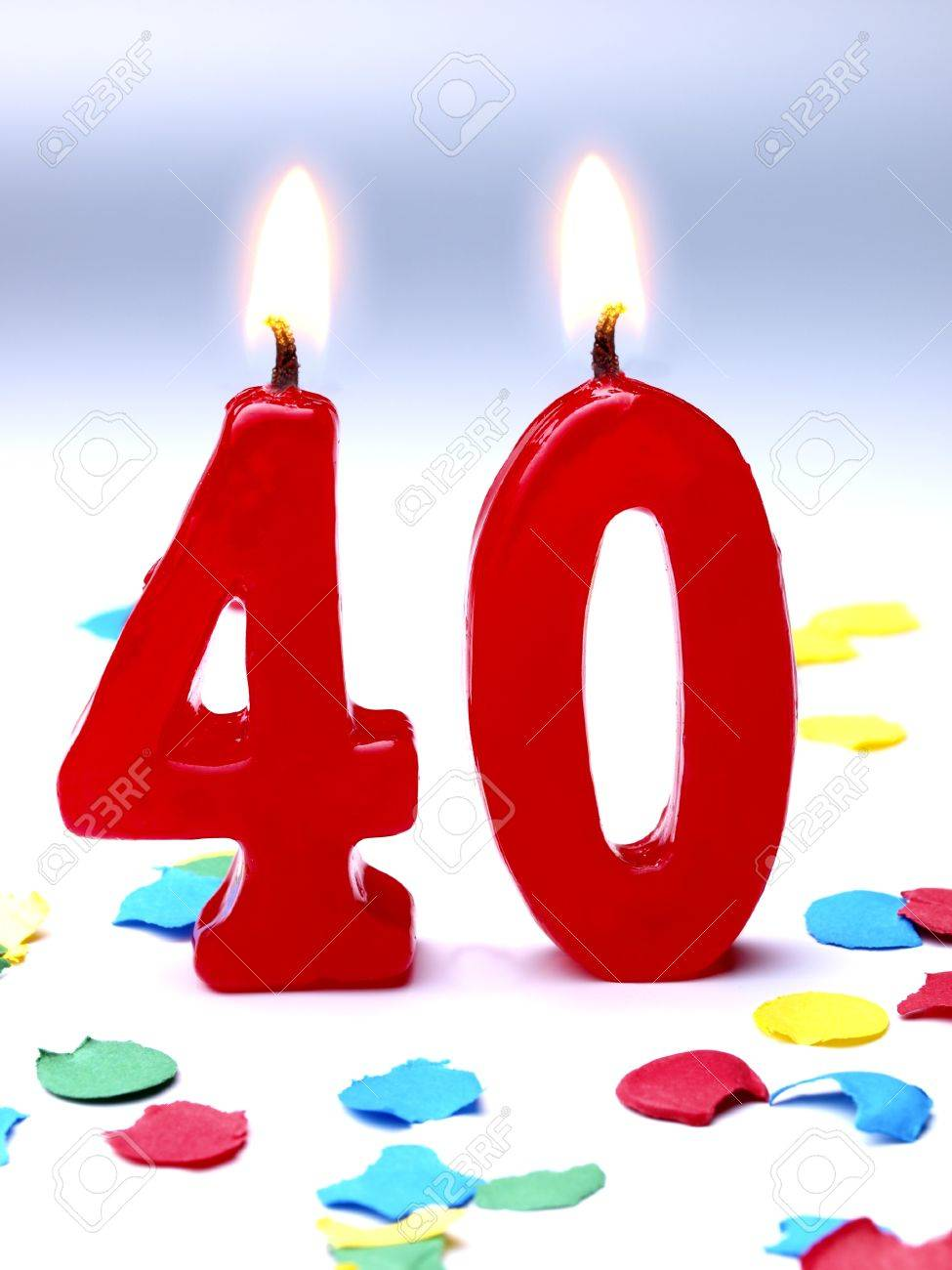 Birthday Candles Showing Nr 40 Stock Photo