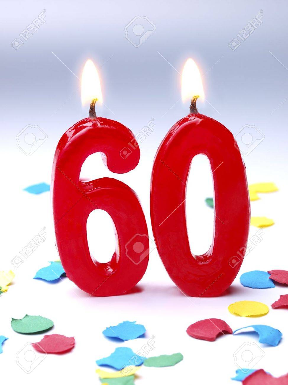 Birthday Candles Showing Nr 60 Stock Photo