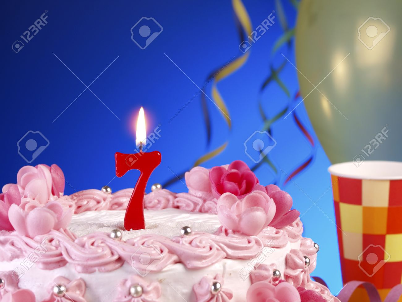Birthday Cake With Red Candles Showing Nr 7 Stock Photo