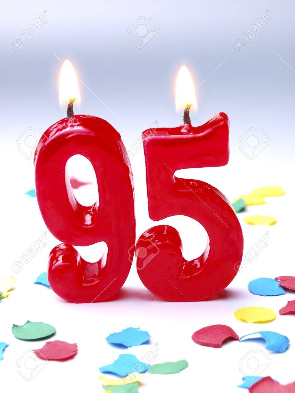 Birthday Candles Showing Nr 95 Stock Photo