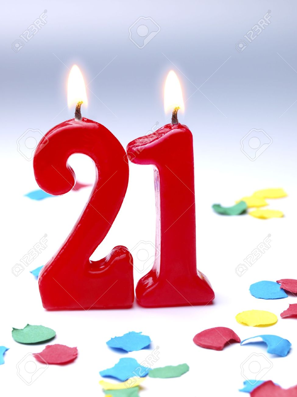 Birthday Candles Showing No 21 Stock Photo