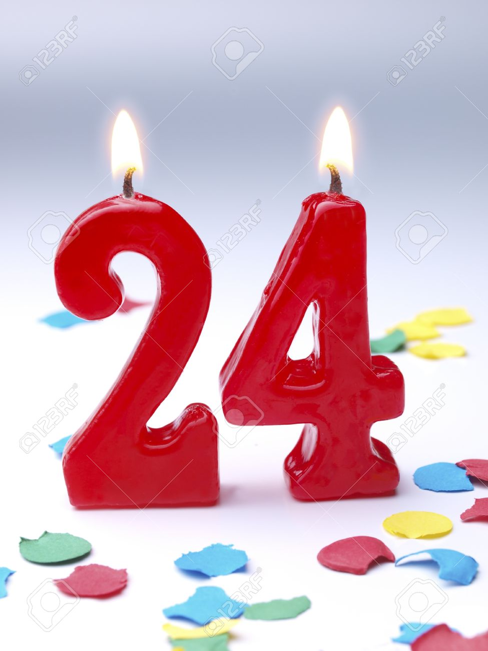 Birthday Candles Showing No 24 Stock Photo