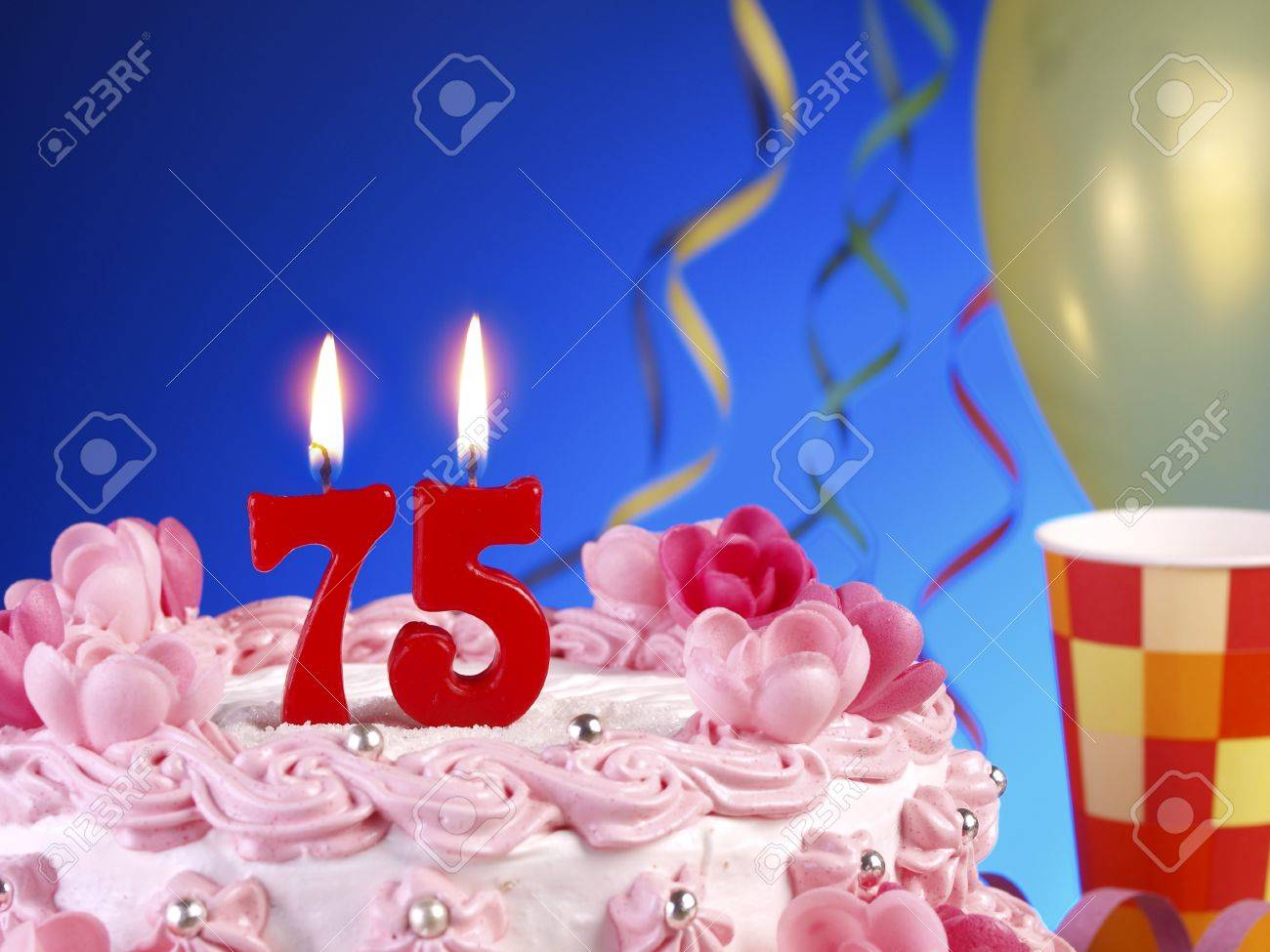 Birthday Cake With Red Candles Showing Nr 75 Stock Photo