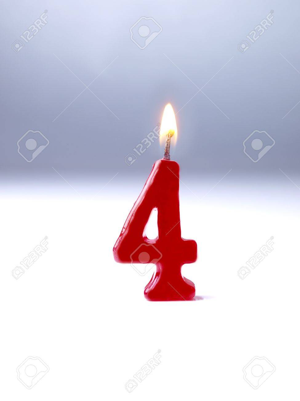 Birthday Candles Showing No 4 Stock Photo