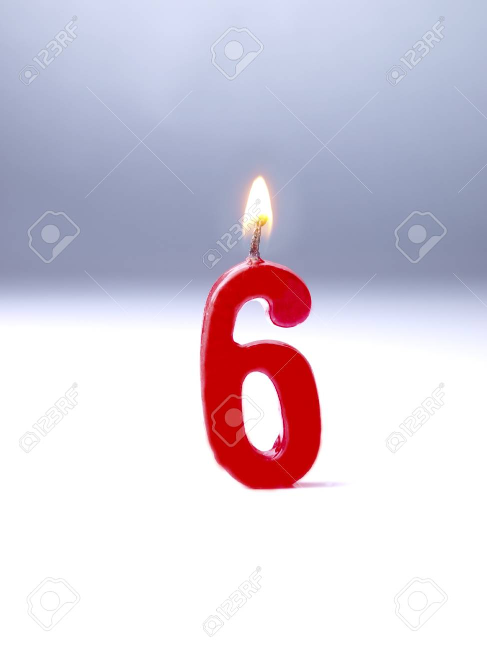 Birthday Candles Showing No 6 Stock Photo