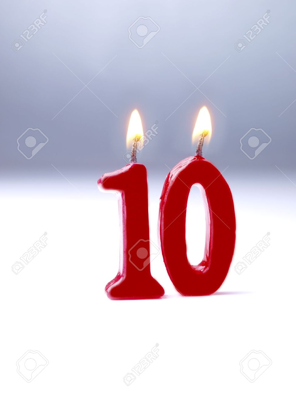 Birthday candles showing No. 10 - 15643799