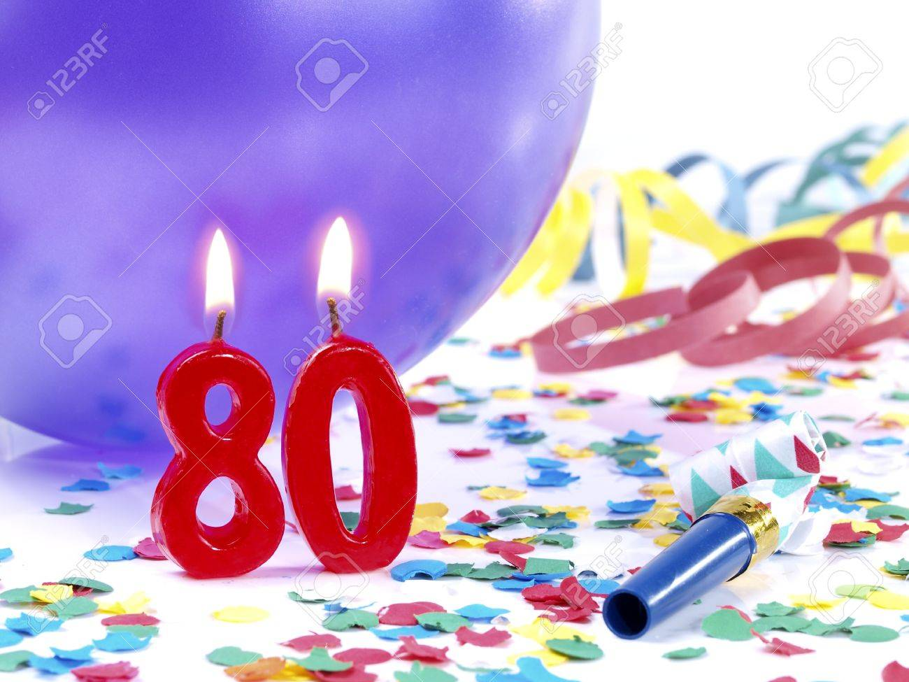 Birthday Candles Showing Nr 80 Stock Photo