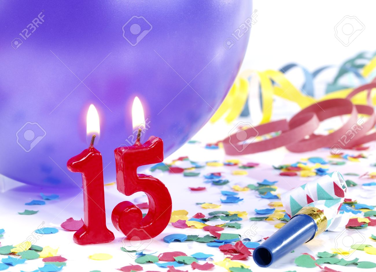Birthday Candles Showing Nr 15 Stock Photo