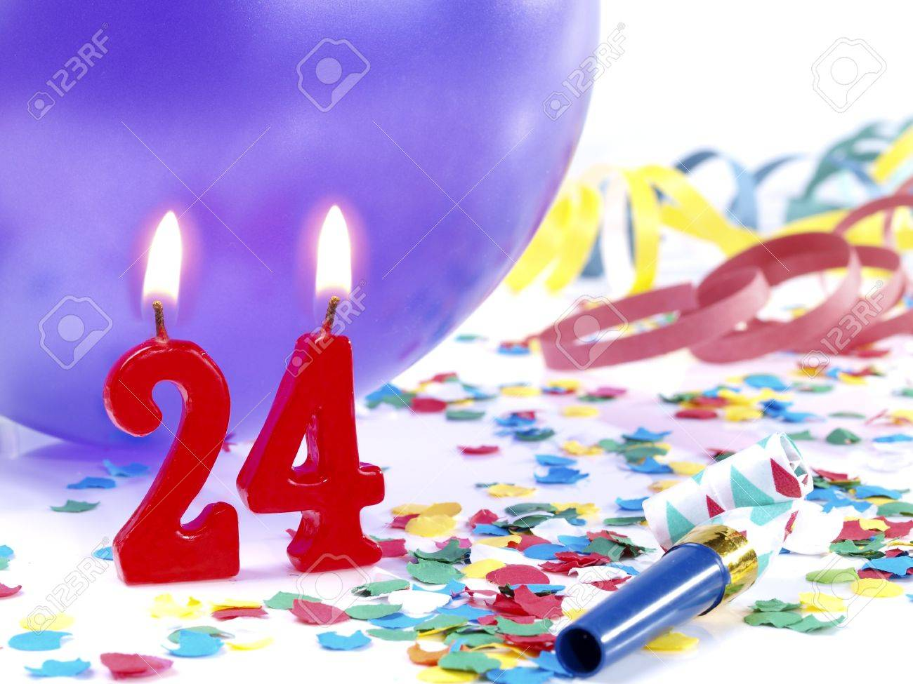 Birthday Candles Showing Nr 24 Stock Photo