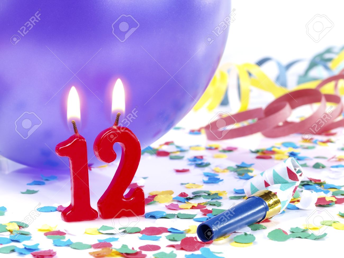 Birthday Candles Showing Nr 12 Stock Photo