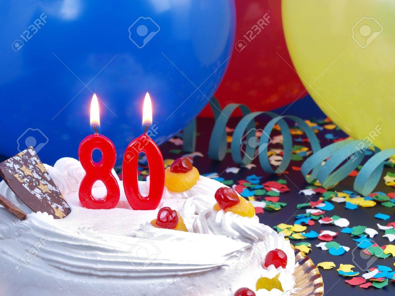 Birthday Cake With Red Candles Showing Nr 80 Stock Photo