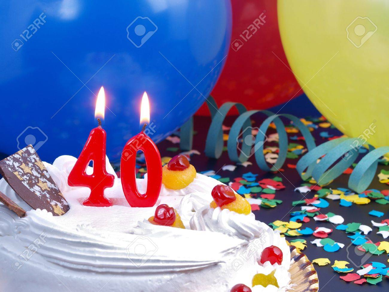 Birthday Cake With Red Candles Showing Nr 40 Stock Photo Picture