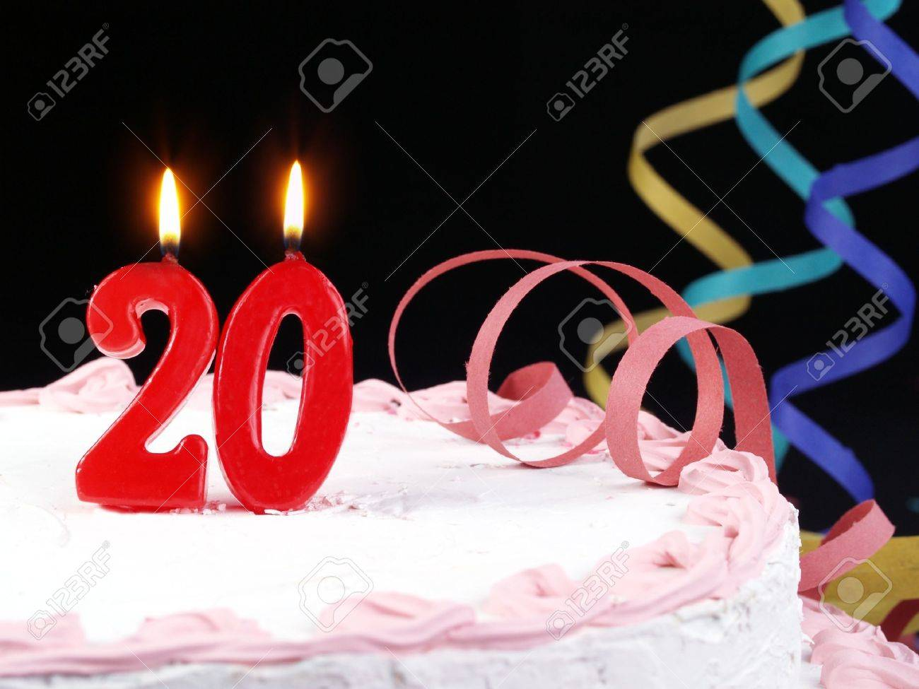Birthday Cake With Red Candles Showing Nr 20 Stock Photo Picture