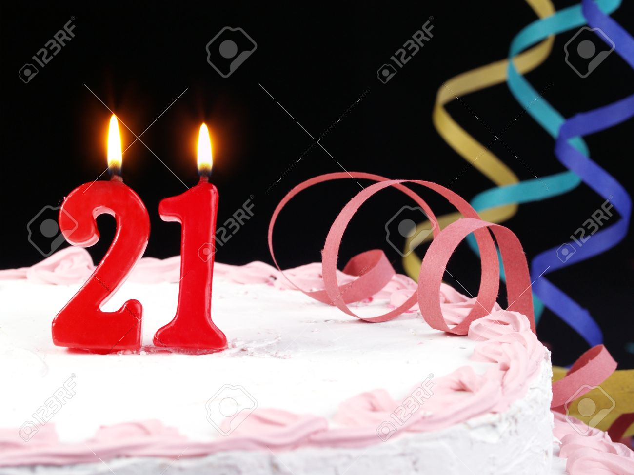 Birthday Cake With Red Candles Showing Nr 21 Stock Photo