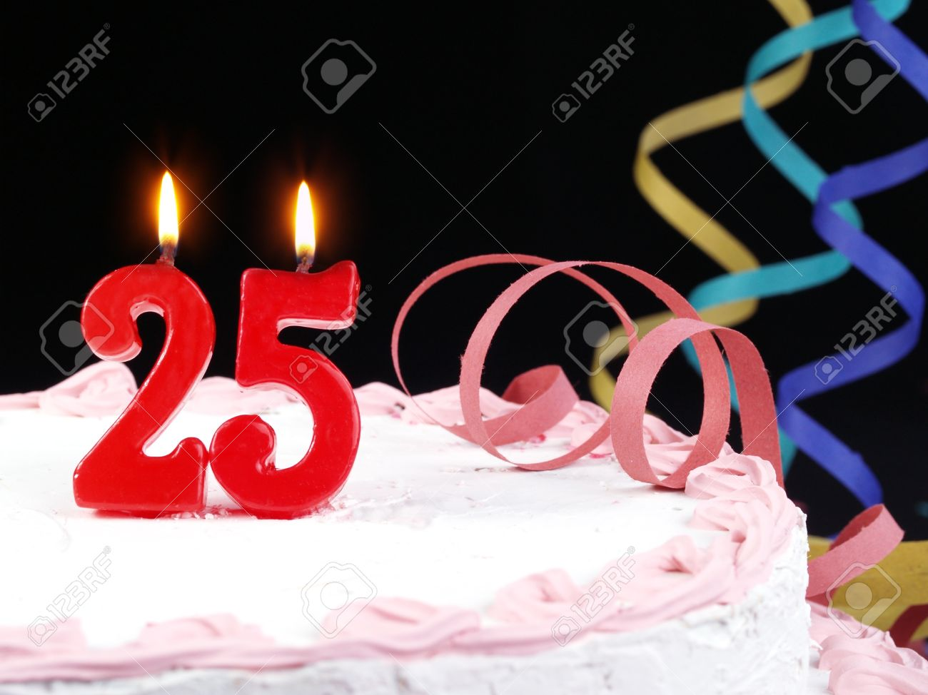 Birthday Cake With Red Candles Showing Nr 25 Stock Photo