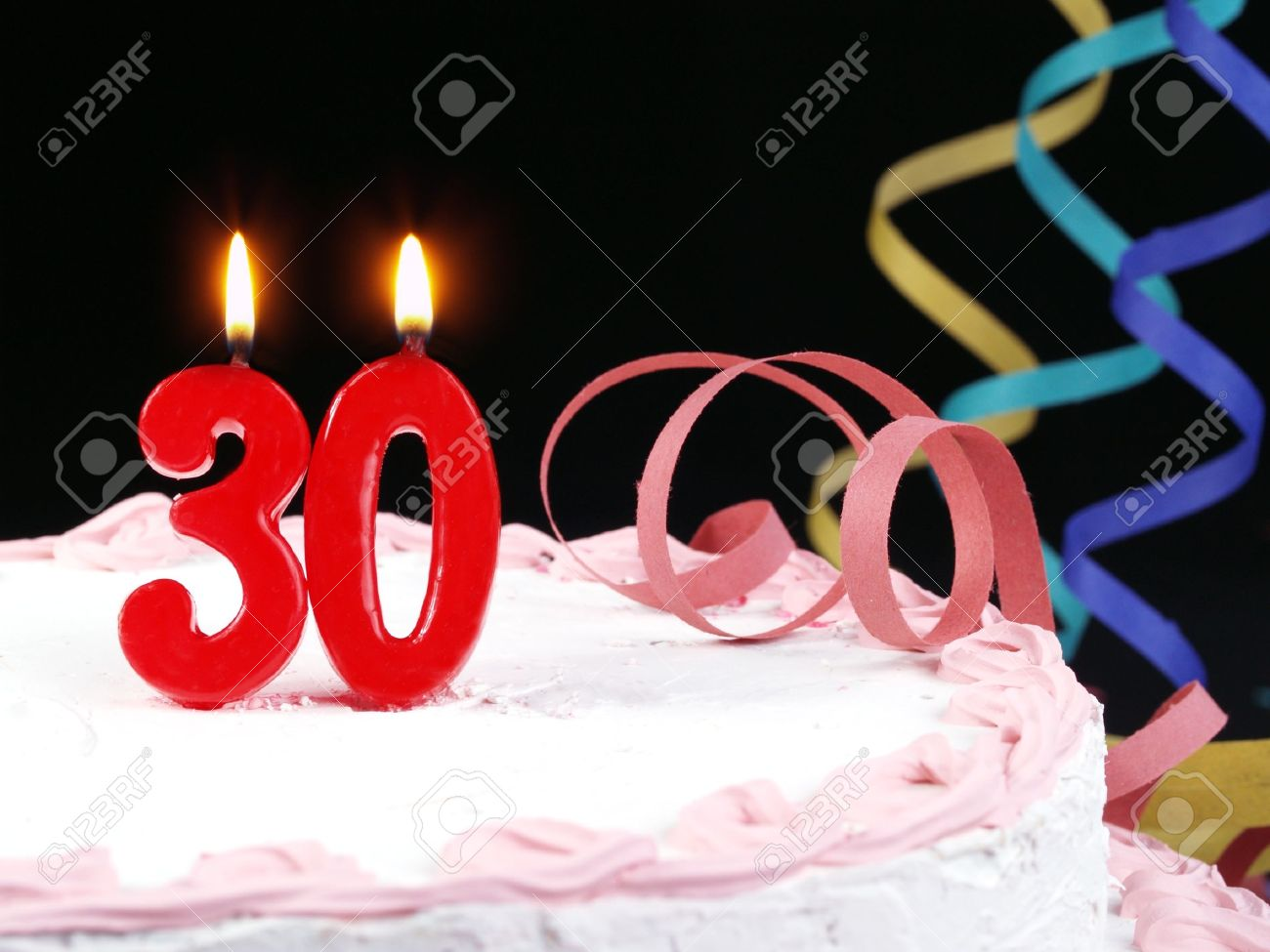 Birthday Cake With Red Candles Showing Nr 30 Stock Photo
