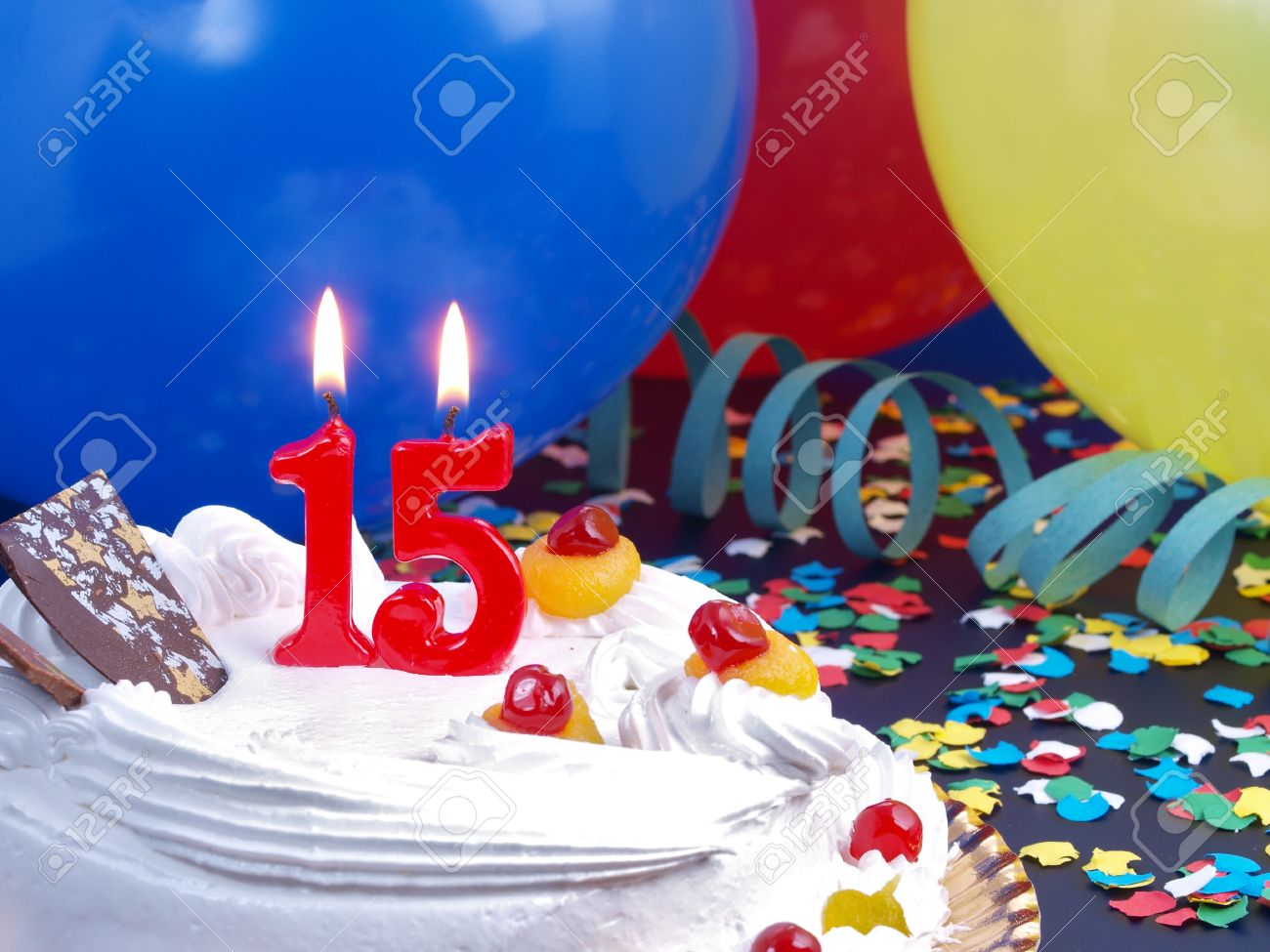 Birthday Cake With Red Candles Showing Nr 15 Stock Photo