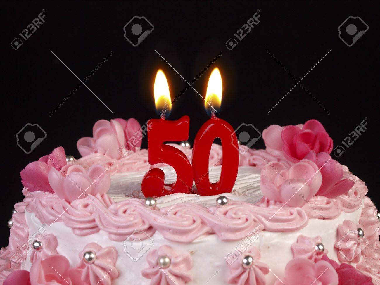 Birthday Cake With Red Candles Showing Nr 50 Stock Photo Picture