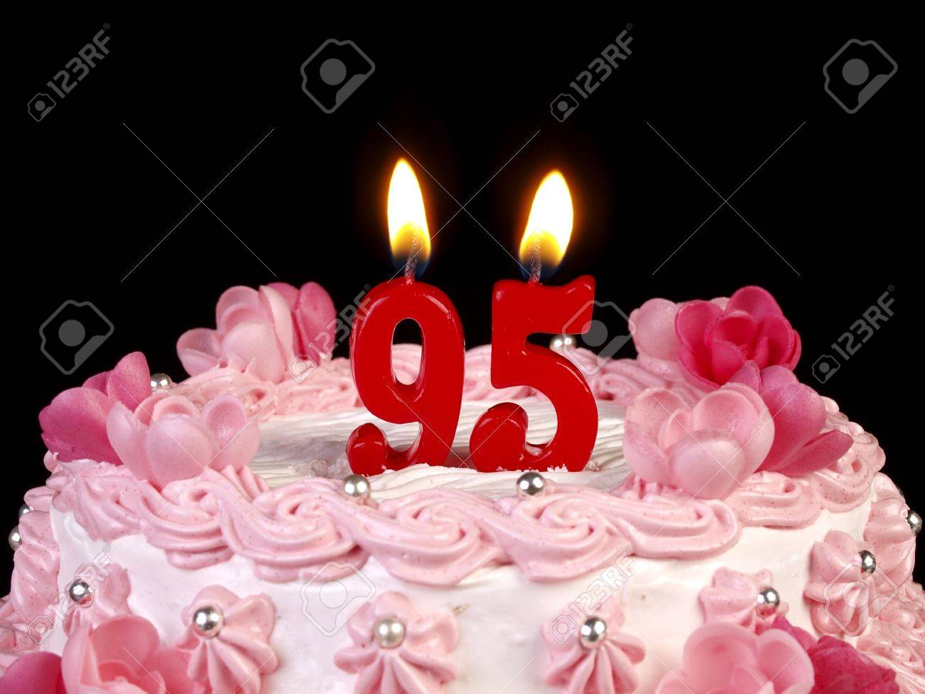 Birthday Cake With Red Candles Showing Nr 95 Stock Photo
