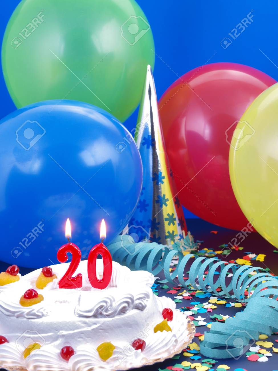 Birthday Cake With Red Candles Showing No 20 Stock Photo Picture