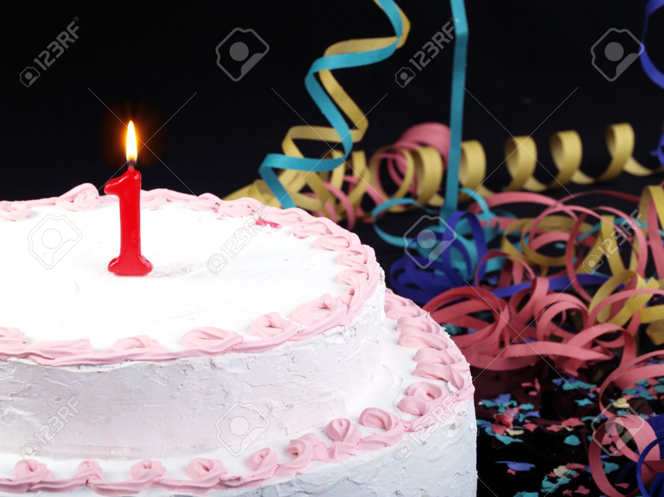 Birthday Cake With Red Candles Showing No 1 Stock Photo