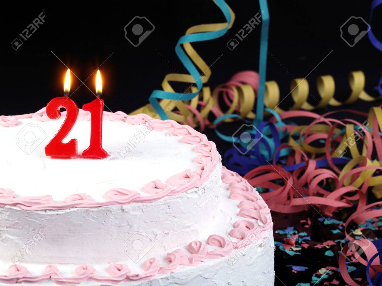 Birthday Cake With Red Candles Showing No 21 Stock Photo
