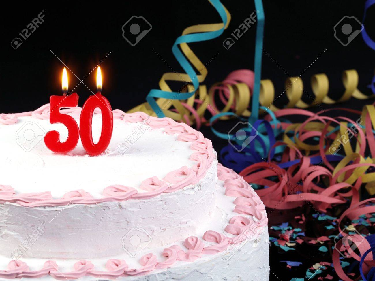 Birthday Cake With Red Candles Showing No 50 Stock Photo Picture