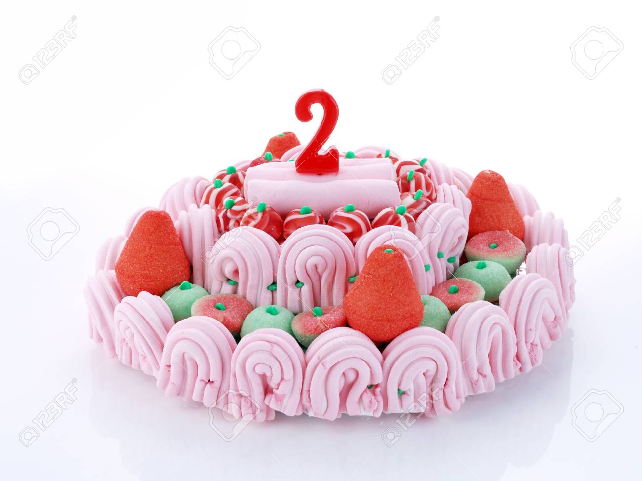 Birthday Cake With Red Candles Showing Nr 2 Stock Photo