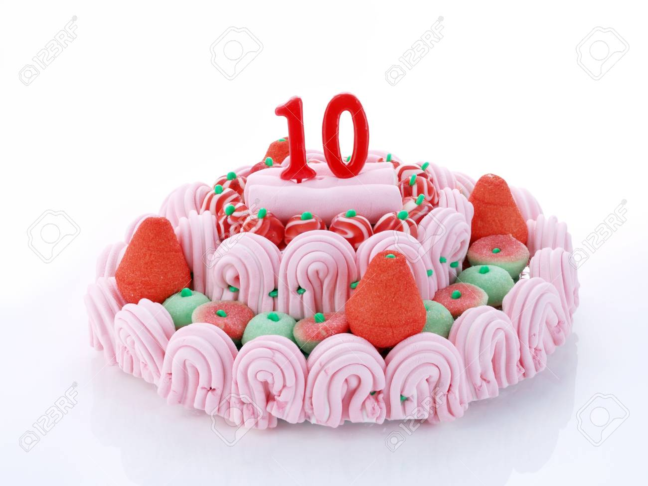 Birthday Cake With Red Candles Showing Nr 10 Stock Photo