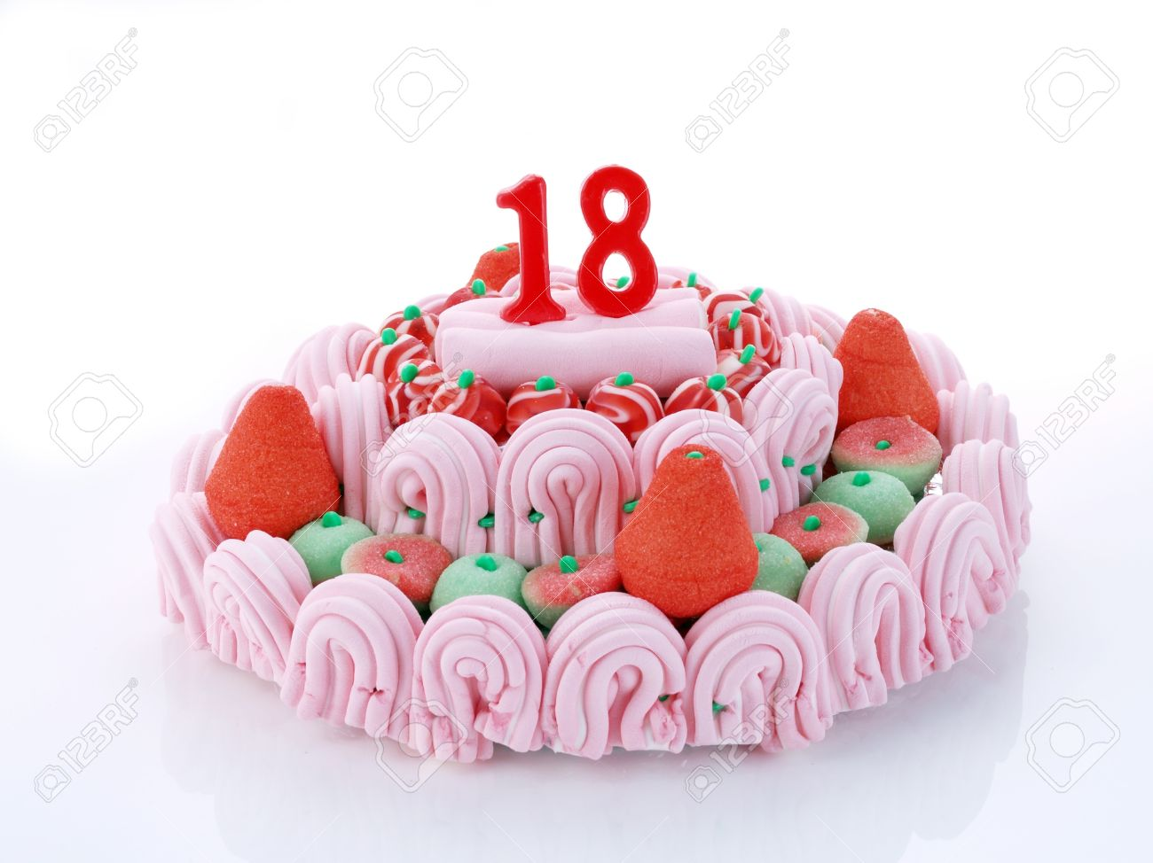 Birthday Cake With Red Candles Showing Nr 18 Stock Photo