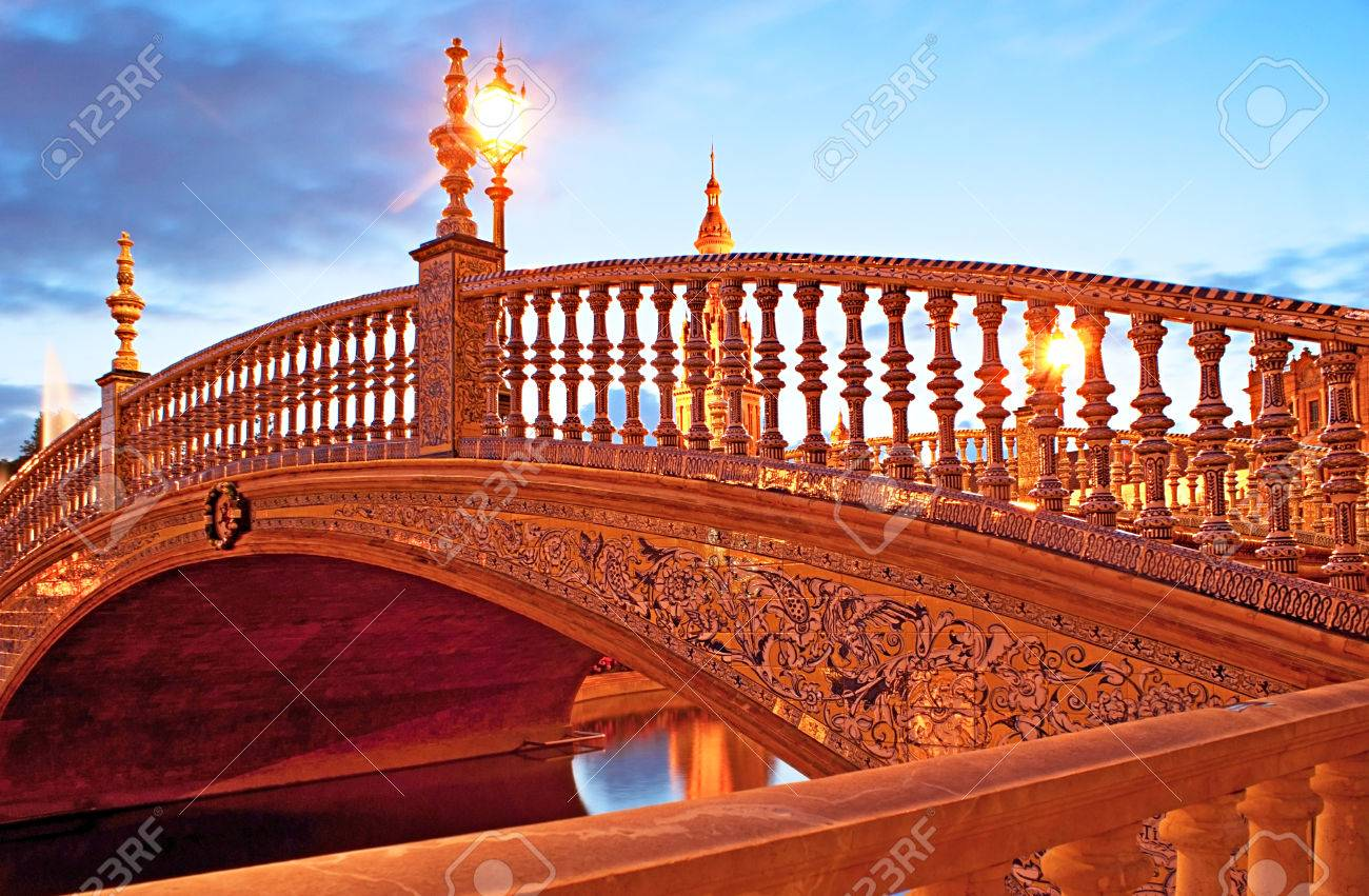 The Tiny Bridge Decorated With Painted Tiles Ceramic Hand Rails