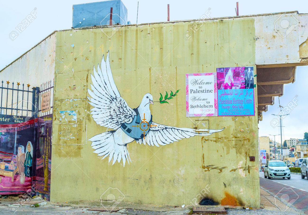 BETHLEHEM, PALESTINE - FEBRUARY 18, 2016: The Mural Of Dove Of ...