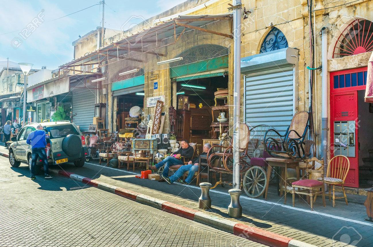TEL AVIV, ISRAEL   FEBBRUARY 25, 2016: The Whole Street Of Used Furniture