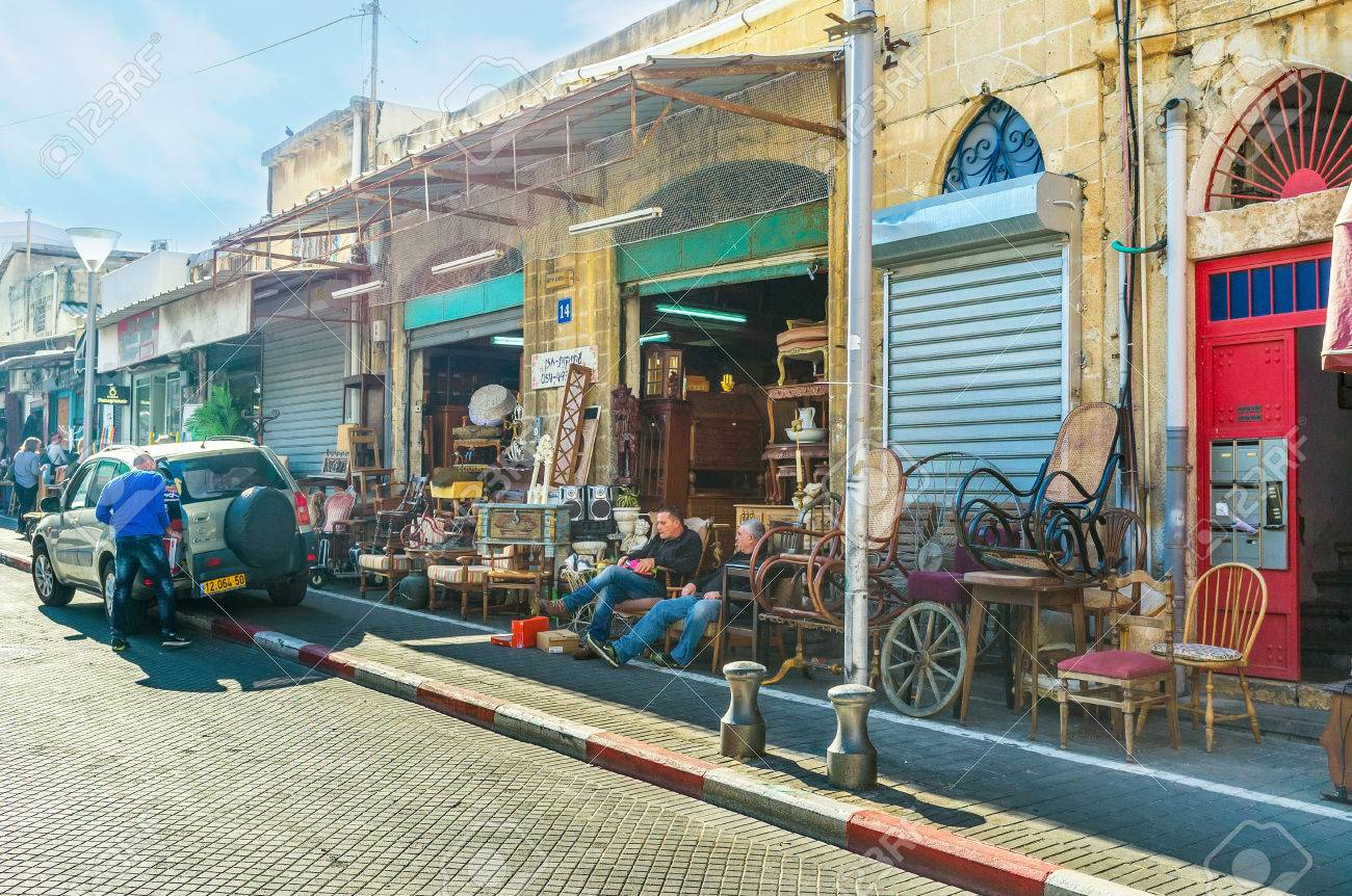 Stock Photo   TEL AVIV, ISRAEL   FEBBRUARY 25, 2016: The Whole Street Of  Used Furniture Stores In The Large Flea Market In Old Jaffa, On February 25  In Tel ...