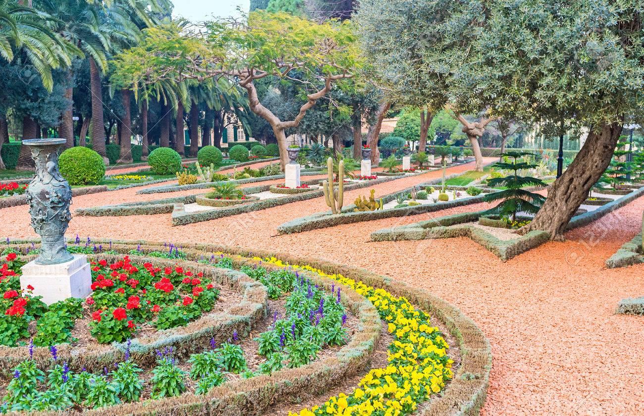 The Lush Trees And Beautiful Flower Beds In Bahai Gardens Haifa