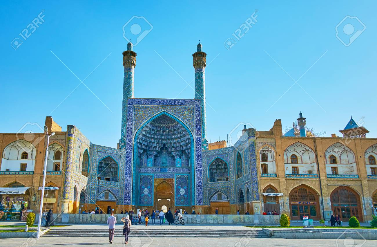 ISFAHAN, IRAN - OCTOBER 20, 2017: The iwan (portal) of Shah Mosque