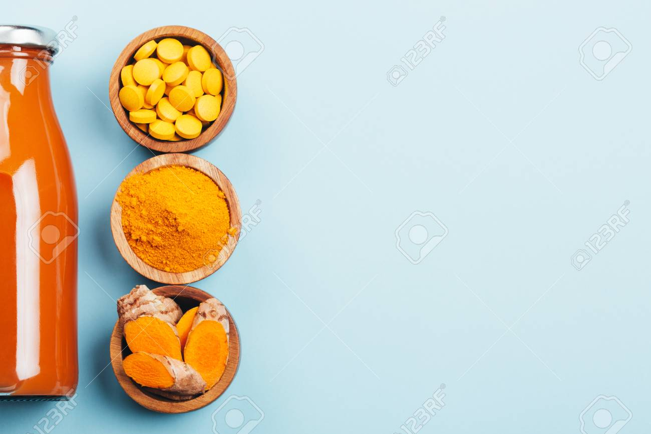 Turmeric in different conditions: fresh, dry root, pills, powder