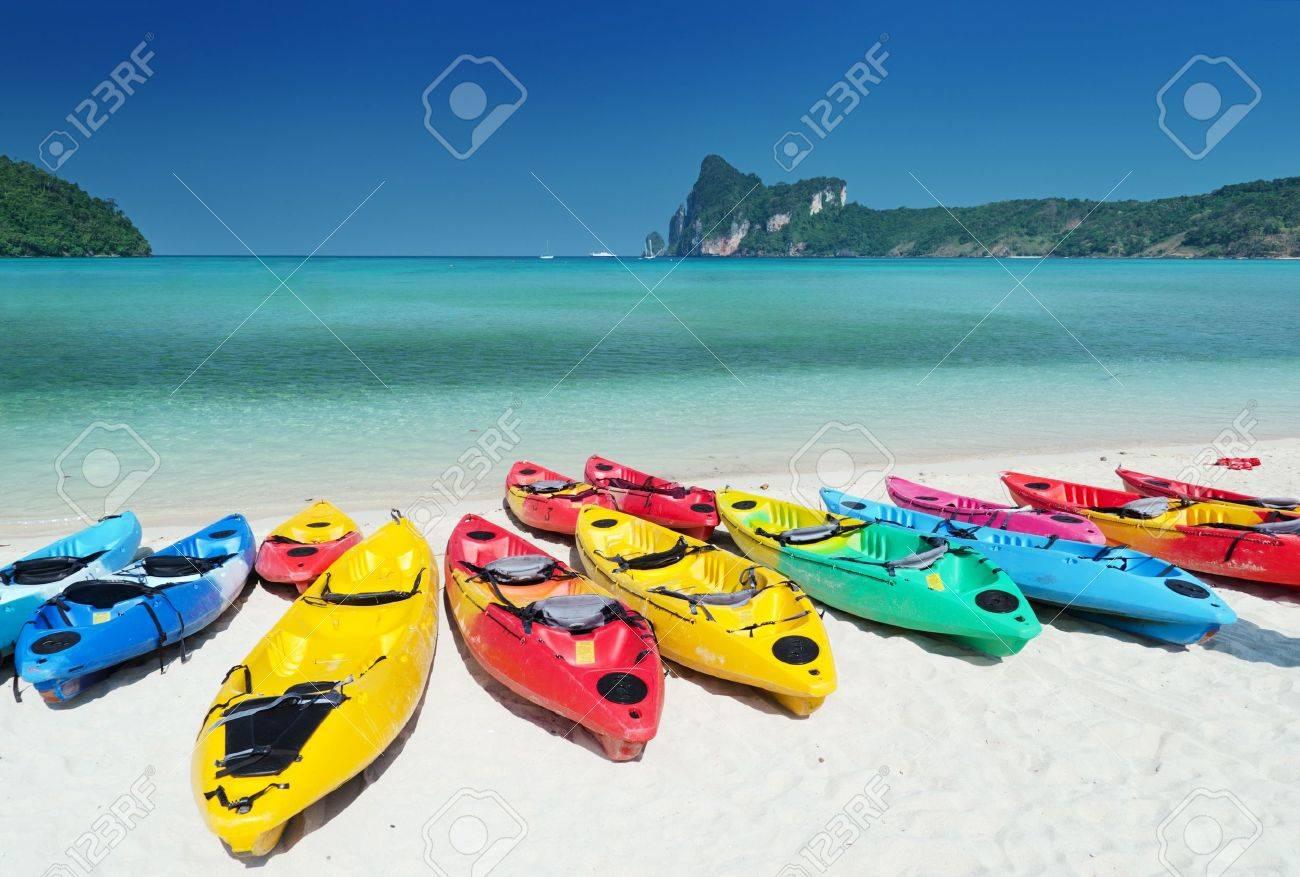Colourful kayaks on the beach. Stock Photo - 9313857