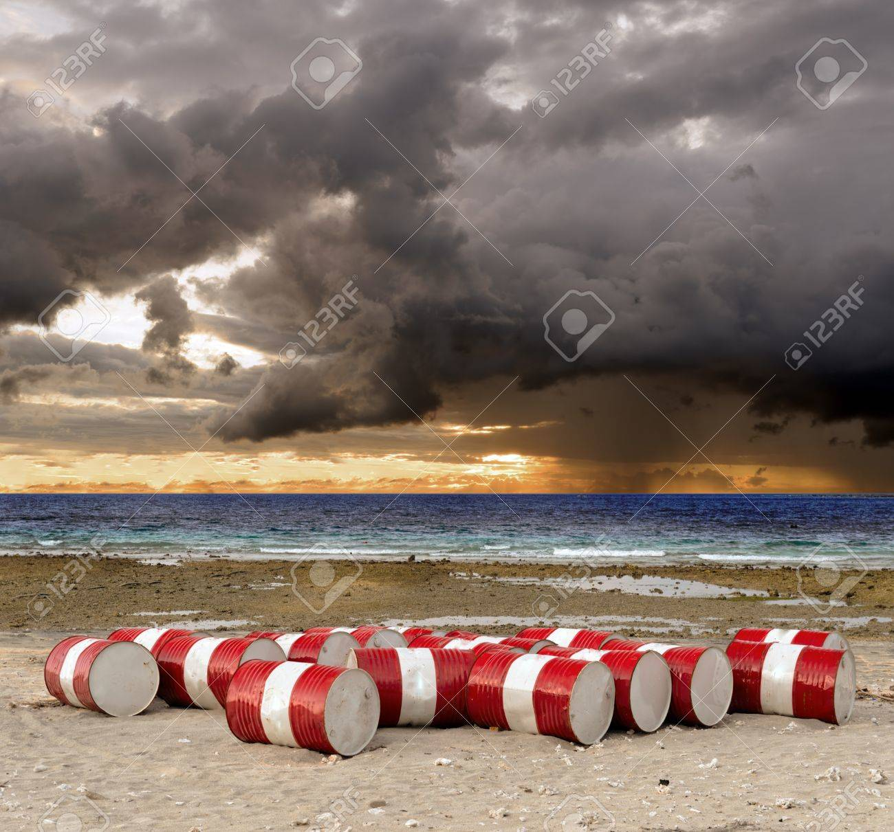 Lot of oil barrels on a seashore  Environment pollution Stock Photo - 14264652