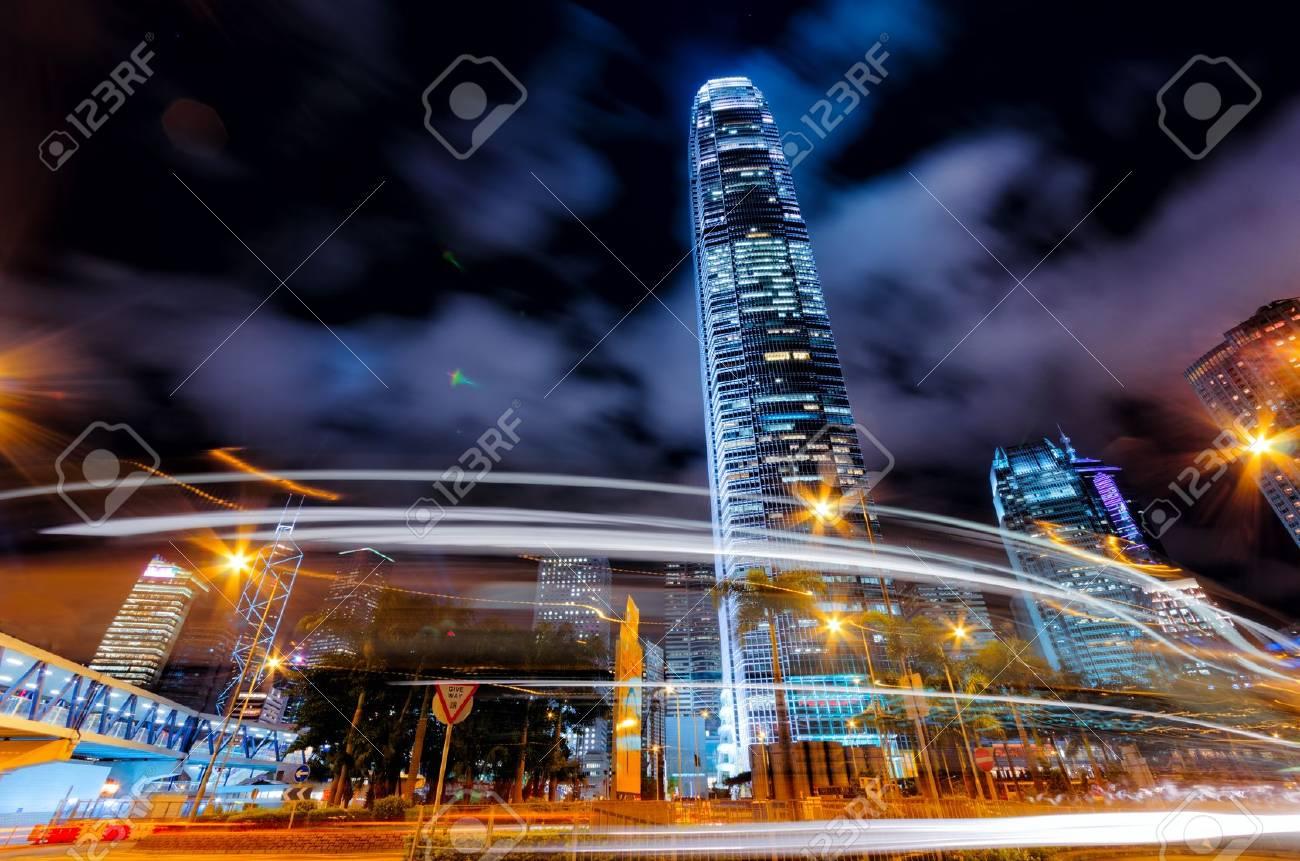 Motion blur of traffic in Hong Kong. Stock Photo - 15605424