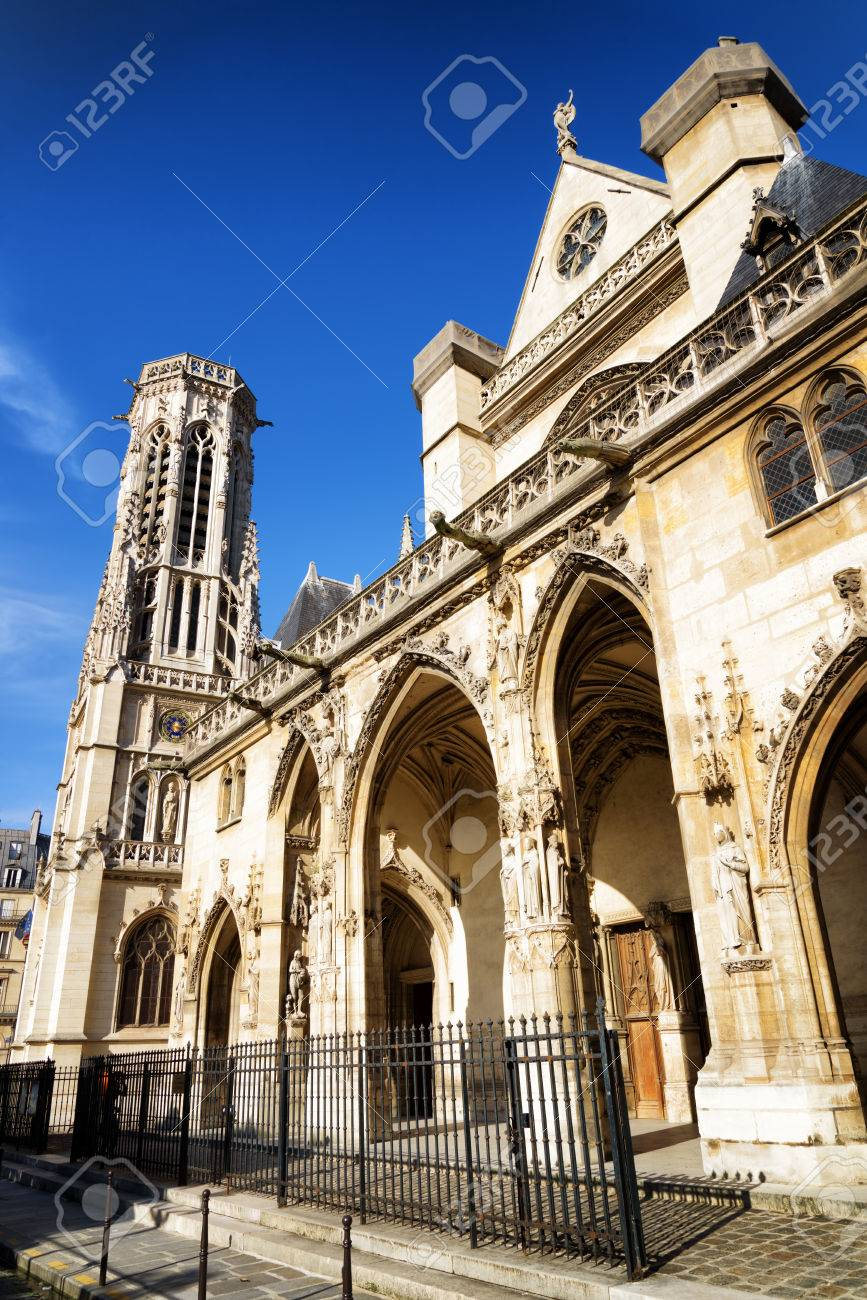 Gothic Arches Of Western Facade The Catholic Church Saint Germain Auxerre In Paris