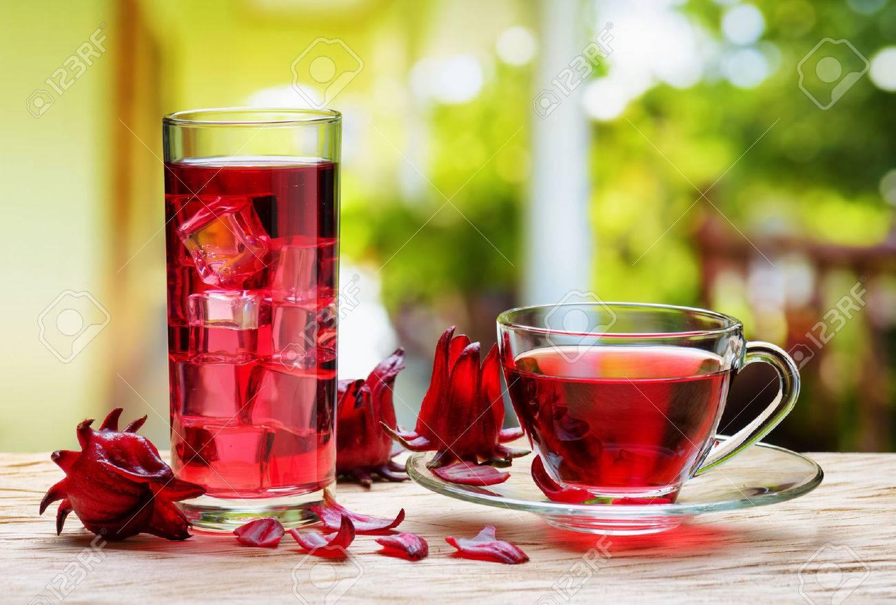 Cup Of Hot Hibiscus Tea Rosella Karkade Red Sorrel And The Same