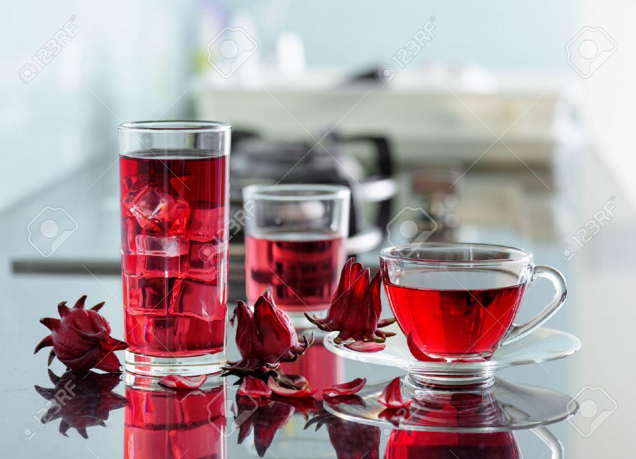 Cup Of Hot Hibiscus Tea Karkade Red Sorrel Agua De Flor De