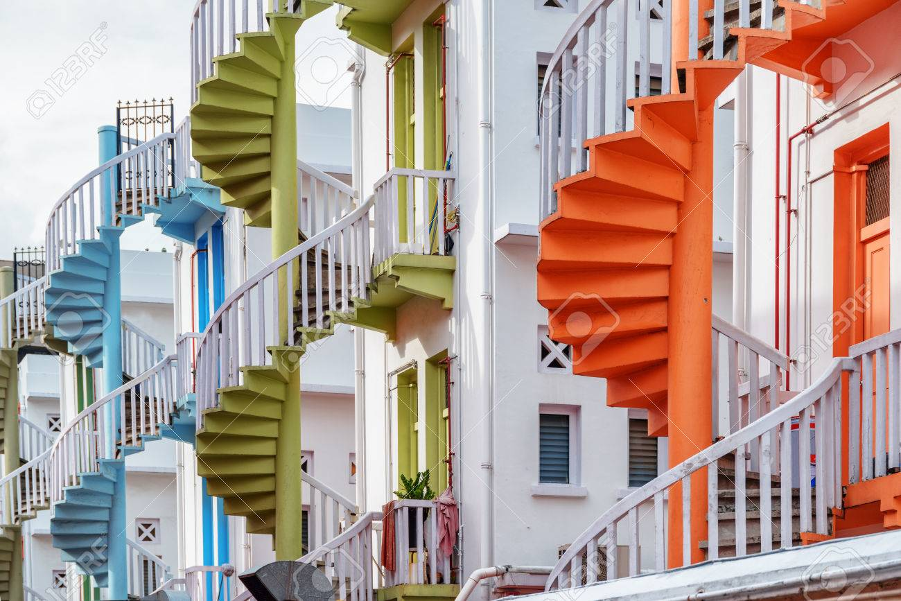 Picture of: Scenic Colorful Exterior Spiral Staircases Outside A Whitewashed Stock Photo Picture And Royalty Free Image Image 76749537