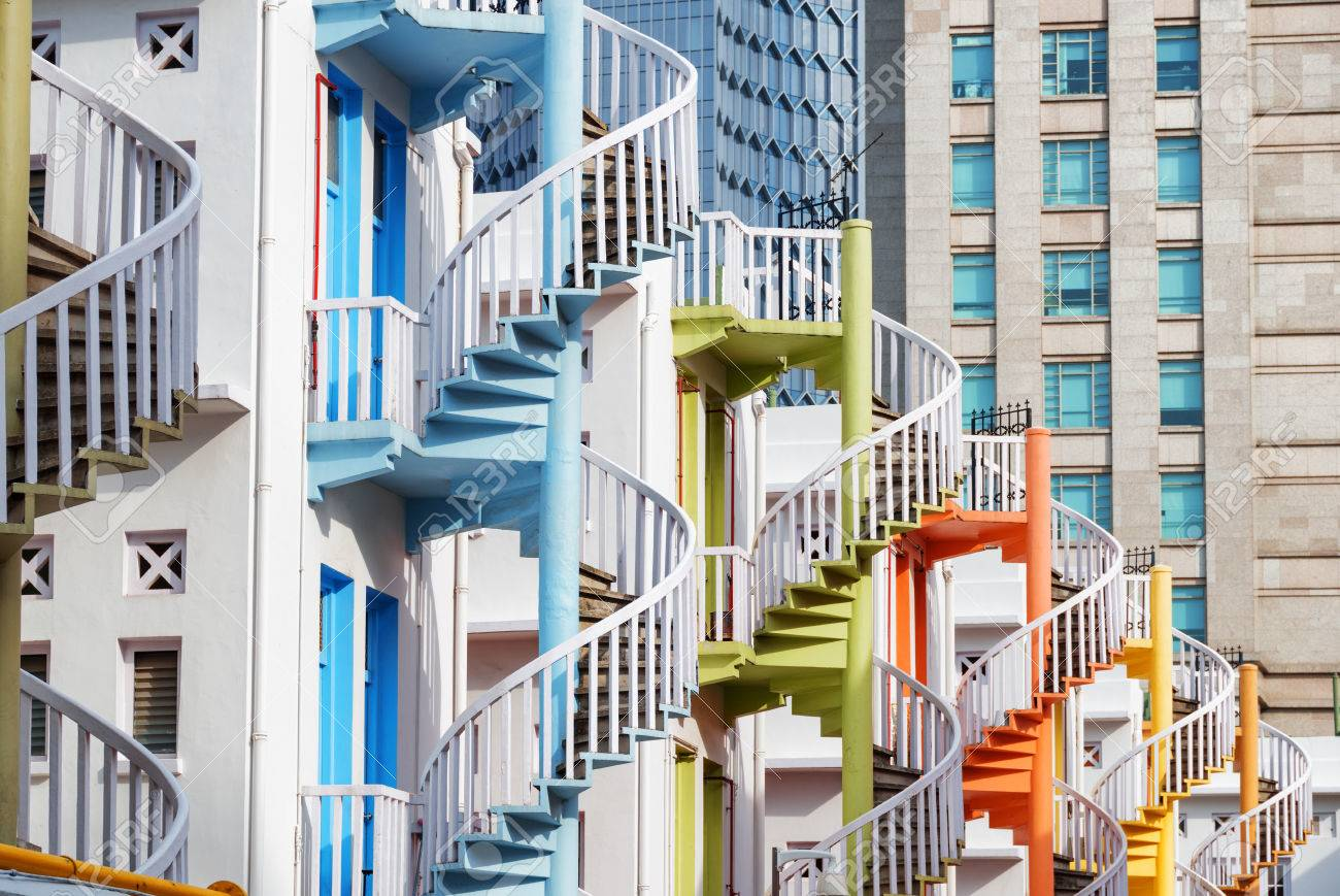 Picture of: Amazing Colorful Exterior Spiral Staircases Outside A Whitewashed Stock Photo Picture And Royalty Free Image Image 78463783