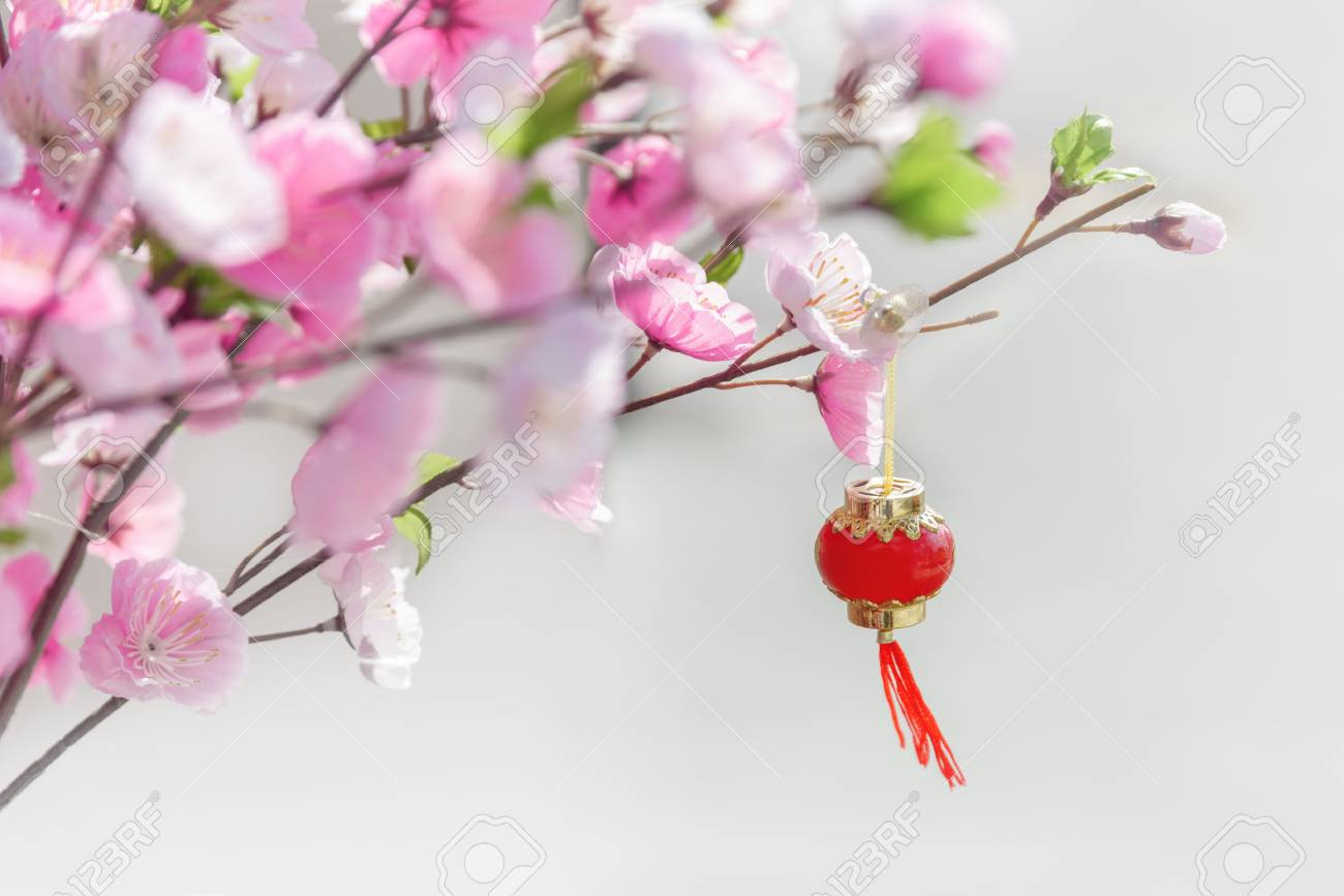 Beautiful Artificial Cherry Blossom Tree And Oriental Chinese