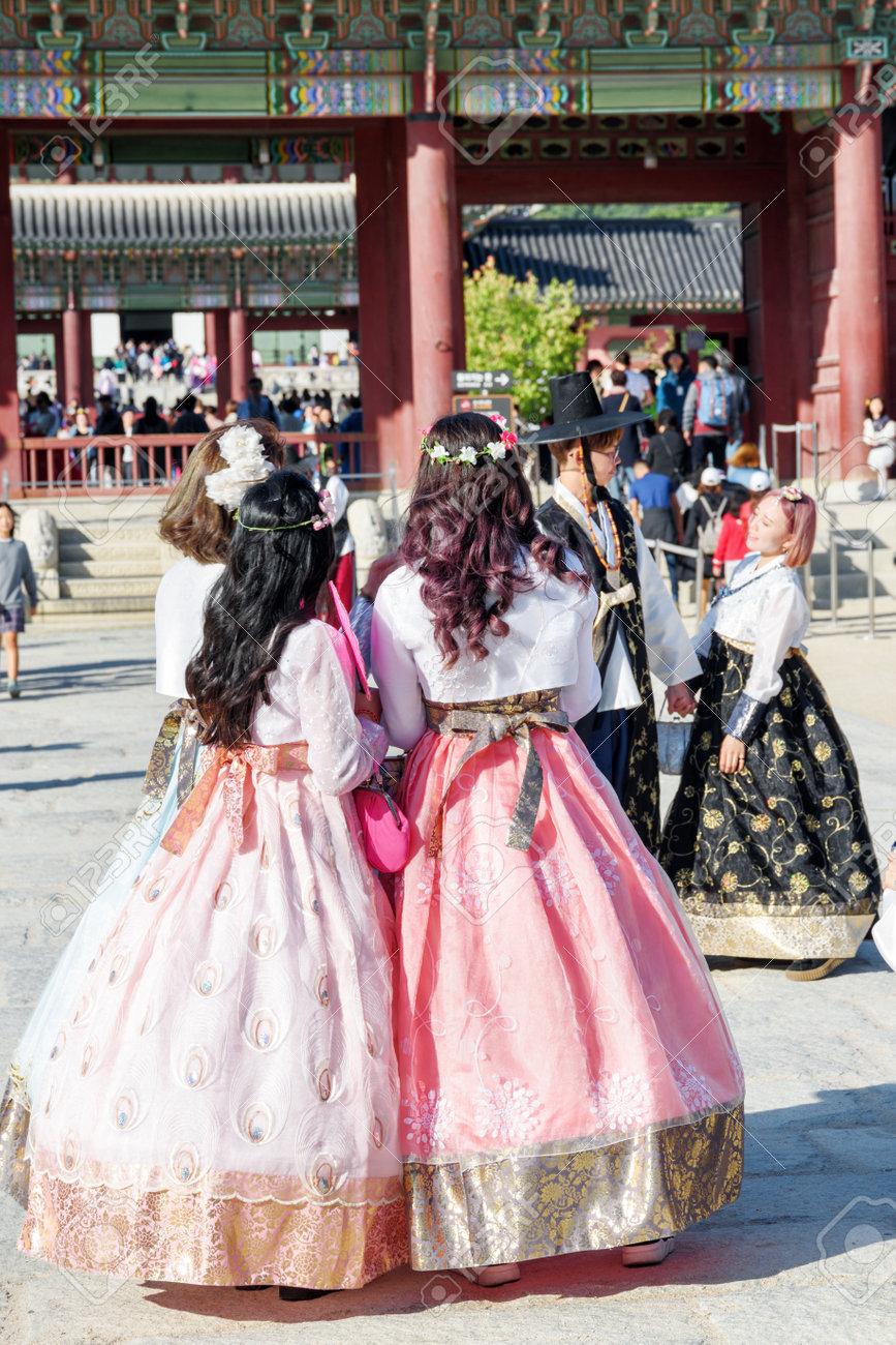Seoul south korea october 15 2017 pretty girls wearing korean seoul south korea october 15 2017 pretty girls wearing korean traditional dress voltagebd Gallery