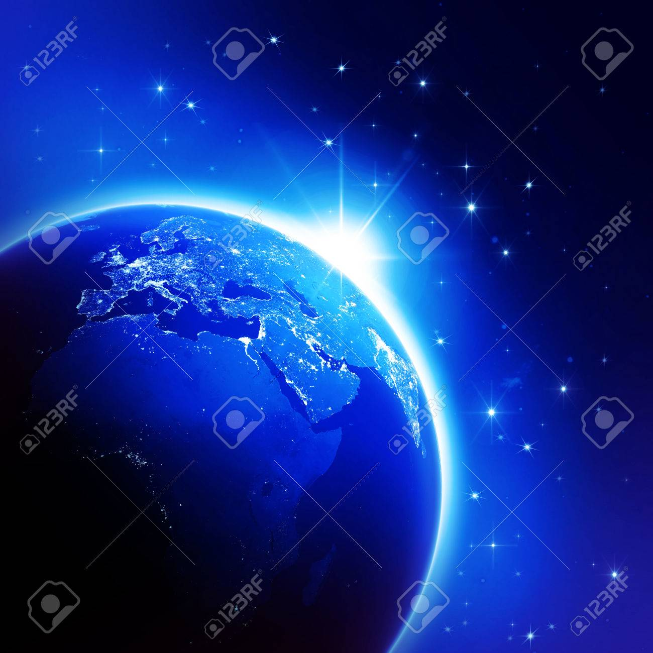 Stock Photo   World Globe Map Night