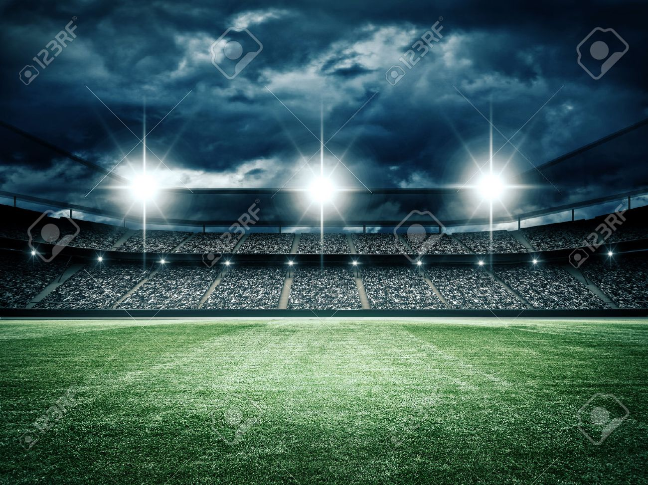 The imaginary soccer stadium is modeled and rendered. - 54318773